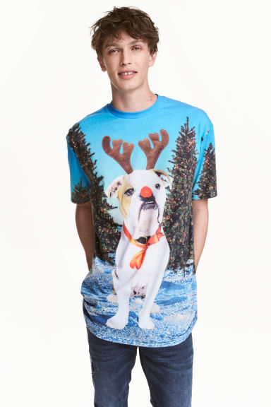 Christmas-motif T-shirt - Turquoise/Christmas dog - Men | H&M CN 1