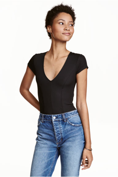 Ribbed body - Black - Ladies | H&M CN 1