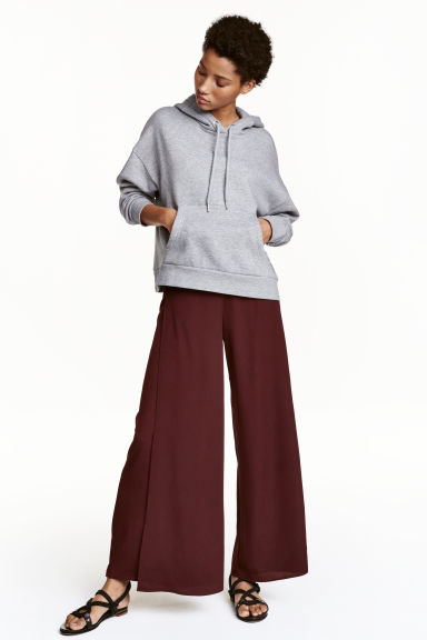 Wide trousers - Burgundy - Ladies | H&M CN 1