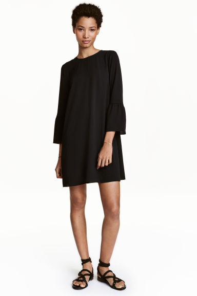 Dress with flounced sleeves - Black - Ladies | H&M CN 1