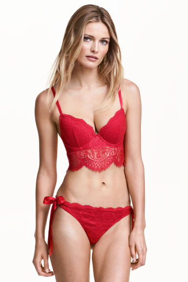 Lace briefs with ties - Red - Ladies | H&M CN 1