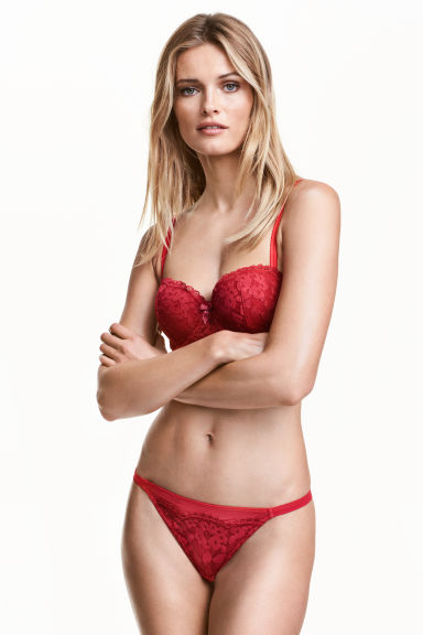 Lace string briefs - Red - Ladies | H&M CN 1