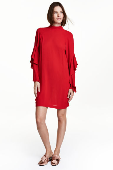 Crêpe dress with flounces - Dark red - Ladies | H&M CN 1