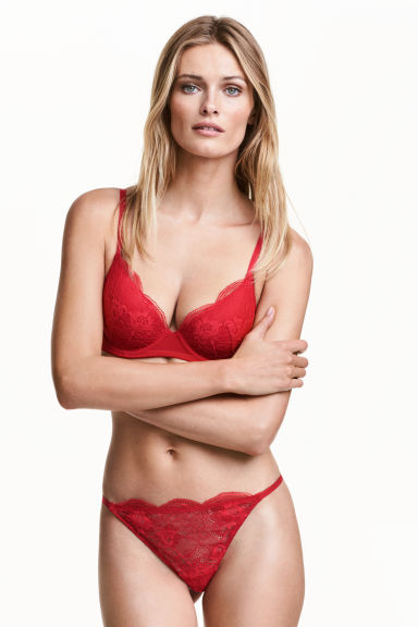 Lace thong briefs - Red - Ladies | H&M CN 1