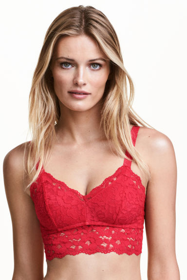 Lace bralette - Red - Ladies | H&M CA 1