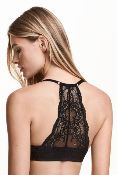Lace-backed super push-up bra - Black - Ladies | H&M CN 1