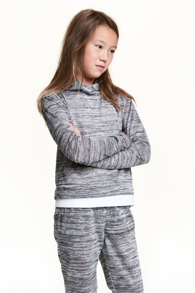 Glittery hooded jumper - Dark grey marl - Kids | H&M CN 1