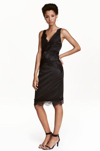 Abito in satin con pizzo - Nero - DONNA | H&M IT 1
