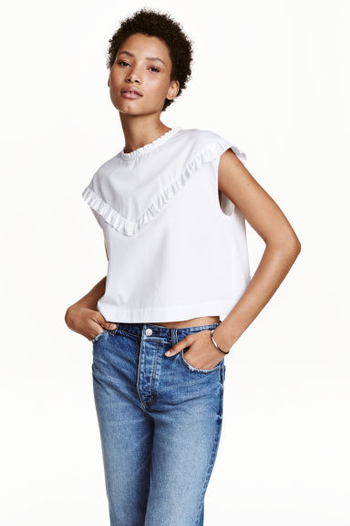 Cotton blouse with frills - White - Ladies | H&M CN 1