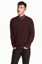 Wool-blend jumper - Burgundy marl - Men | H&M CN 1