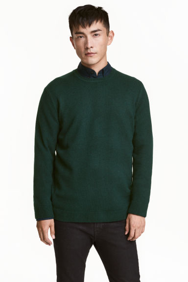 Pullover in misto lana - Verde scuro - UOMO | H&M IT 1