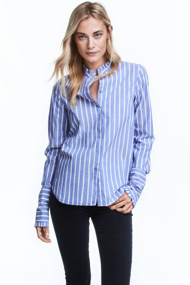 Cotton blouse with frills - Blue/Striped - Ladies | H&M GB 1