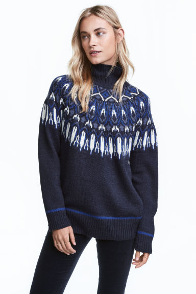Jacquard-knit polo-neck jumper - Dark blue/Patterned - Ladies | H&M GB 1