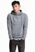Wool-blend hooded jumper - Grey marl - Men | H&M CN 1