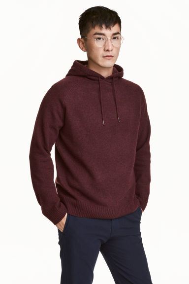 Wool-blend hooded jumper - Burgundy marl - Men | H&M CN 1