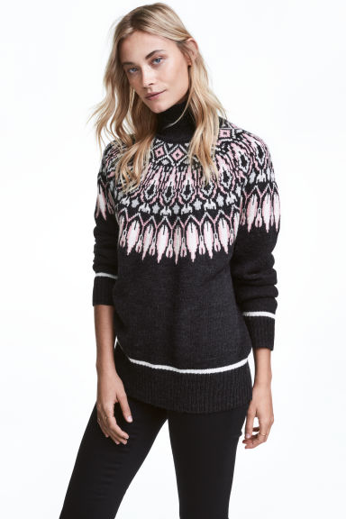Jacquard-knit polo-neck jumper - Dark grey/Patterned - Ladies | H&M GB 1