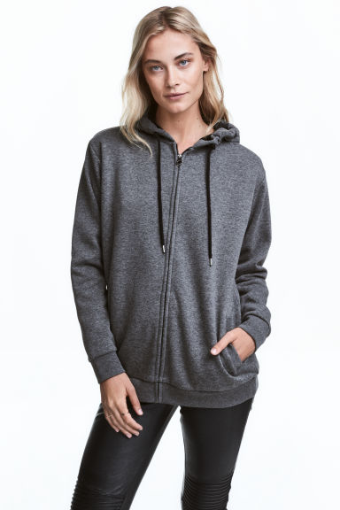 Fleece-lined hooded jacket - Dark grey marl - Ladies | H&M CN 1