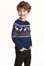 Jacquard-knit jumper - Dark blue/Reindeer - Kids | H&M CN 1