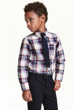 Shirt and tie - Dark blue/Checked - Kids | H&M CN 1