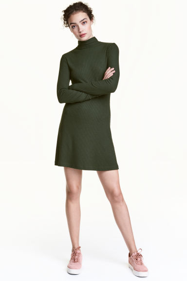 Ribbed jersey dress - Dark khaki green - Ladies | H&M CN 1