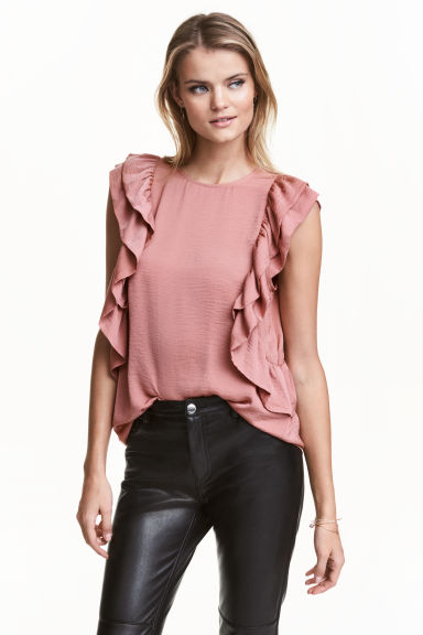 Frilled top - Light pink - Ladies | H&M CN 1