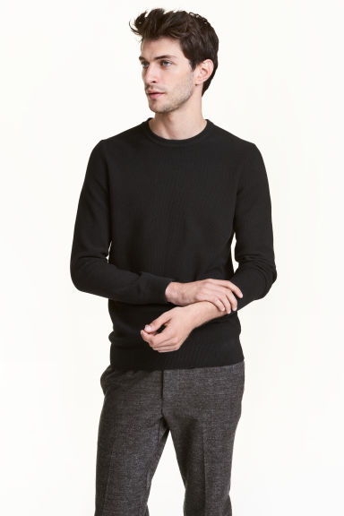 Cotton jumper - Black - Men | H&M CN