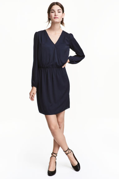 MAMA Satin nursing dress - Dark blue - Ladies | H&M CA 1