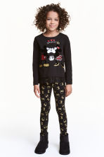 Leggings in jersey con stampa - Nero/Minni - BAMBINO | H&M IT 1