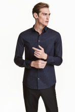 Shirt in premium cotton - Dark blue/Patterned - Men | H&M CN 1