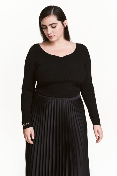 H&M+ Fitted top - Black - Ladies | H&M CN 1
