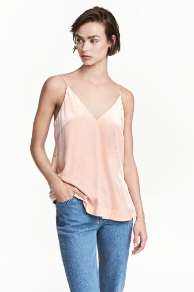 V-neck strappy top - Powder - Ladies | H&M CN 1