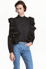 Frilled blouse - Black - Ladies | H&M CN 1