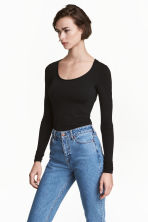 Long-sleeved jersey top - Black - Ladies | H&M CN 1
