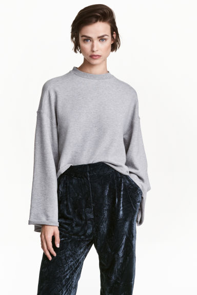 Wide-sleeved sweatshirt - Grey marl - Ladies | H&M CN 1
