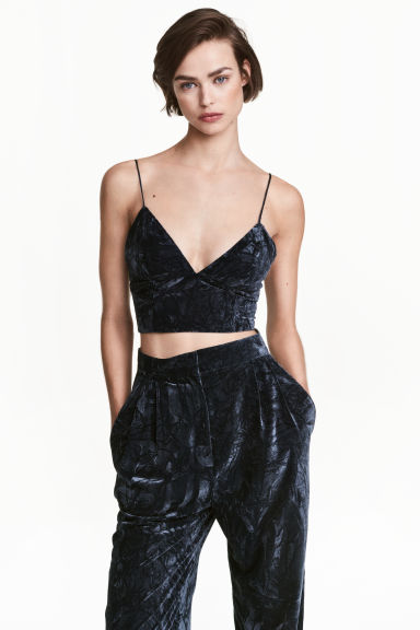 Bustier in crushed velvet - Dark blue - Ladies | H&M CN 1