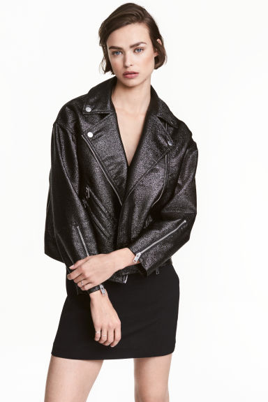 Oversized biker jacket - Black/Glitter -  | H&M IE