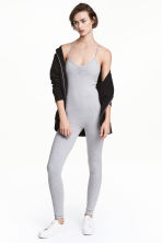 Fitted jumpsuit - Light grey marl - Ladies | H&M CN 1
