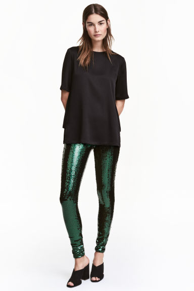 Sequined leggings - Dark green -  | H&M CN
