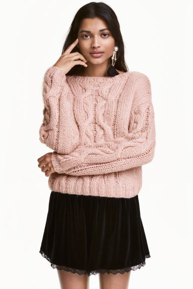 Cable-knit jumper - Powder pink - Ladies | H&M CA 1