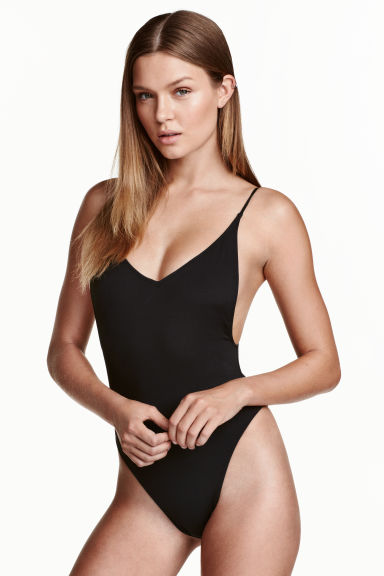 V-neck swimsuit High leg - Black - Ladies | H&M CN 1