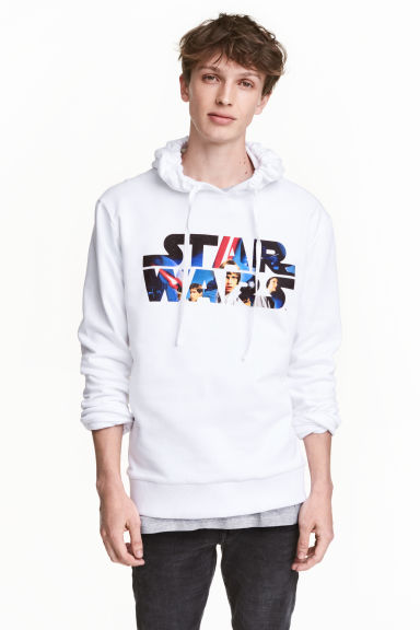 Printed hooded top - White/Star Wars -  | H&M CN