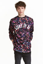 Christmas-motif sweatshirt - Black/Light string - Men | H&M CA 1