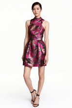 Jacquard-weave dress - Black/Pink floral - Ladies | H&M CN 1