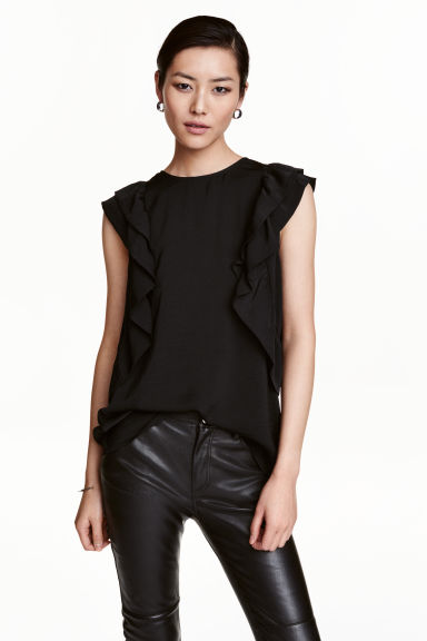 Frilled top - Black -  | H&M GB