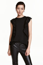 Frilled top - Black - Ladies | H&M CN 1