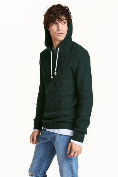 Hooded jumper - Dark green - Men | H&M CN 1