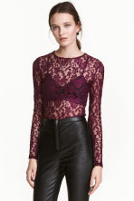 Lace top - Dark purple - Ladies | H&M CN 1