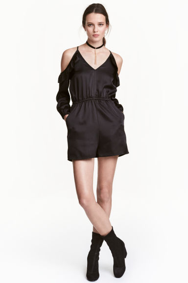 Cold shoulder playsuit - Black - Ladies | H&M CN 1
