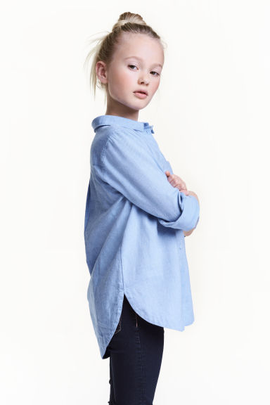 Cotton twill shirt - Light blue -  | H&M CN