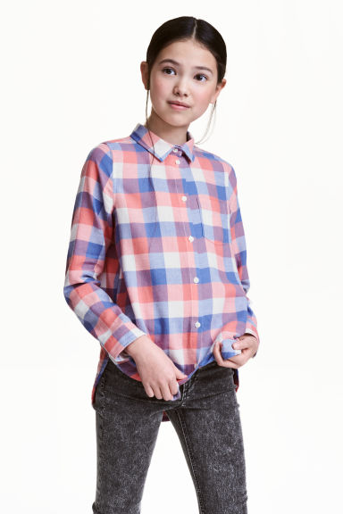 Cotton twill shirt - Coral/Checked -  | H&M 1